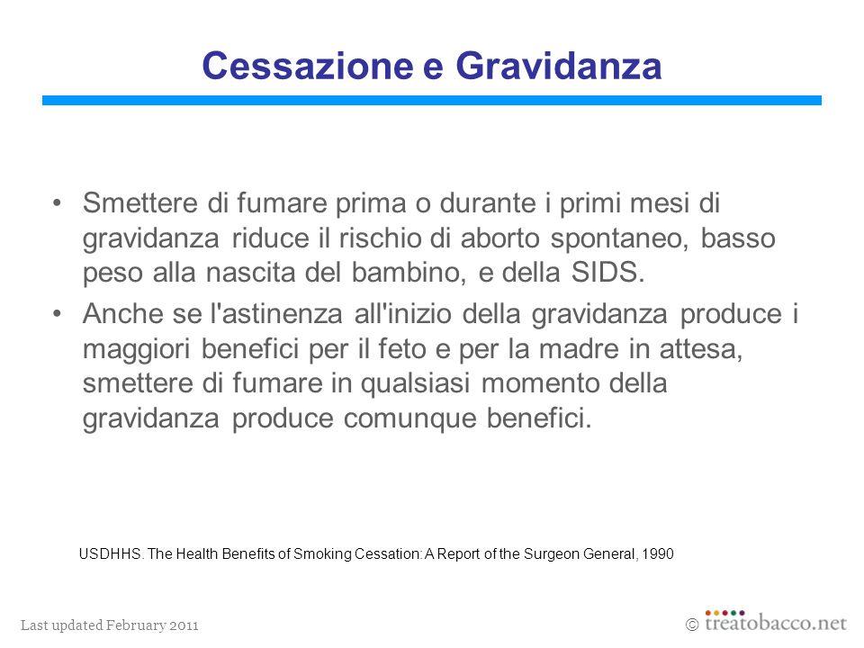 Last updated February 2011 Cessazione e Gravidanza Smettere di fumare prima o durante i primi mesi di gravidanza riduce il rischio di aborto spontaneo