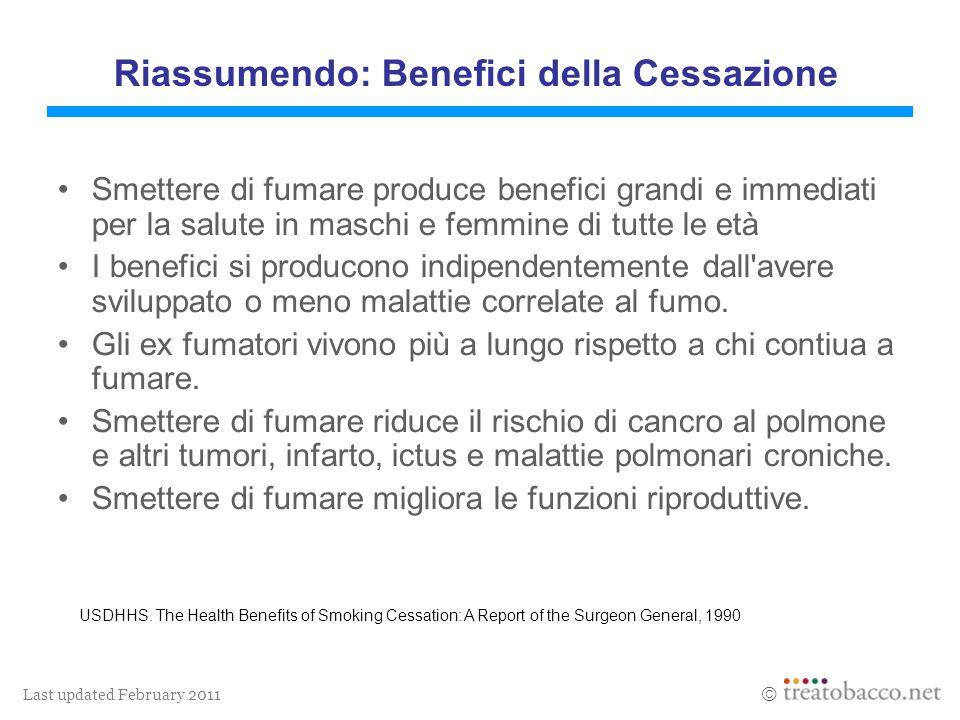 Last updated February 2011 Riassumendo: Benefici della Cessazione Smettere di fumare produce benefici grandi e immediati per la salute in maschi e fem