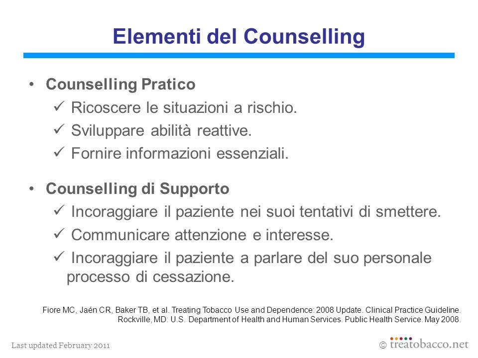Last updated February 2011 Elementi del Counselling Counselling Pratico Ricoscere le situazioni a rischio. Sviluppare abilità reattive. Fornire inform