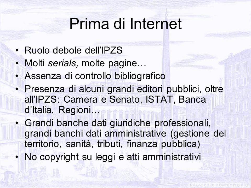 Prima di Internet Ruolo debole dellIPZS Molti serials, molte pagine… Assenza di controllo bibliografico Presenza di alcuni grandi editori pubblici, ol