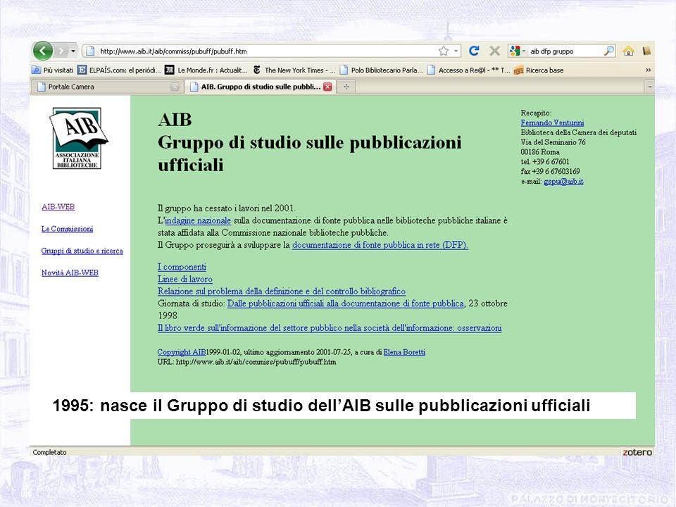 1995: nasce il Gruppo di studio dellAIB sulle pubblicazioni ufficiali