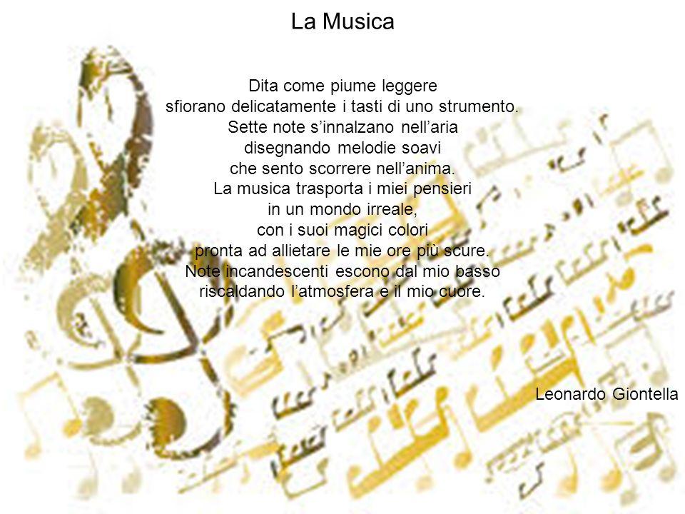La Musica Dita come piume leggere sfiorano delicatamente i tasti di uno strumento. Sette note sinnalzano nellaria disegnando melodie soavi che sento s