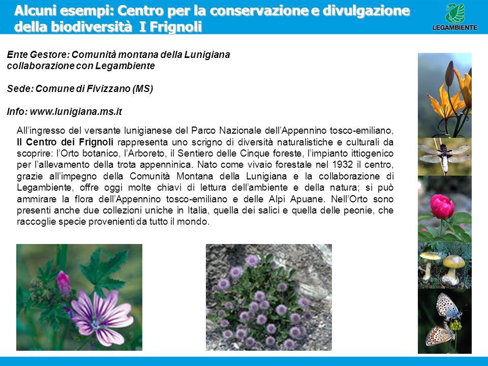 Alcuni esempi: Centro per la conservazione e divulgazione della biodiversità I Frignoli Ente Gestore: Comunità montana della Lunigiana collaborazione