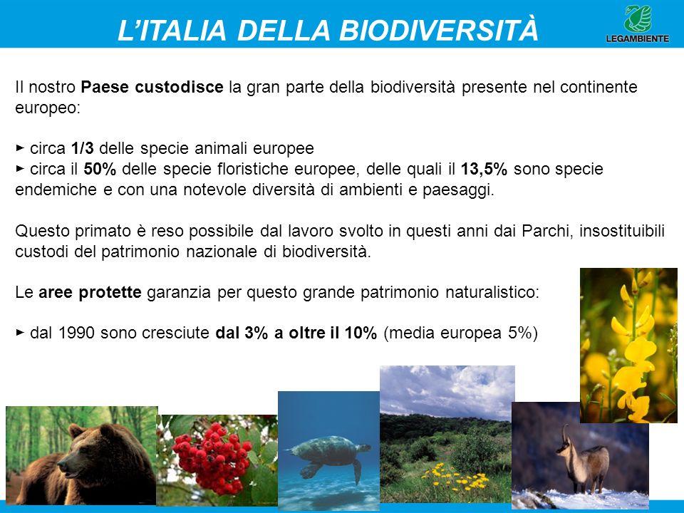 2 Il nostro Paese custodisce la gran parte della biodiversità presente nel continente europeo: circa 1/3 delle specie animali europee circa il 50% del