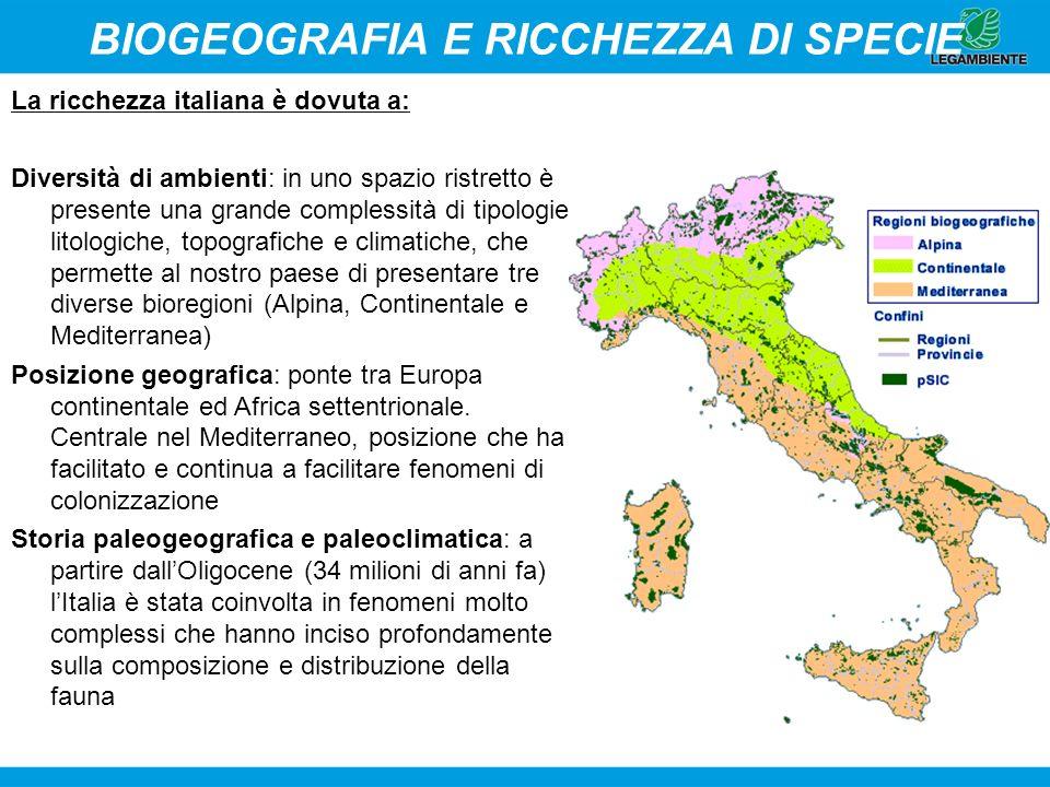 BIOGEOGRAFIA E RICCHEZZA DI SPECIE La ricchezza italiana è dovuta a: Diversità di ambienti: in uno spazio ristretto è presente una grande complessità