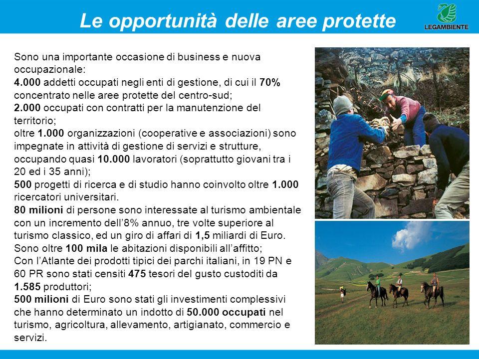6 Le opportunità delle aree protette Sono una importante occasione di business e nuova occupazionale: 4.000 addetti occupati negli enti di gestione, d