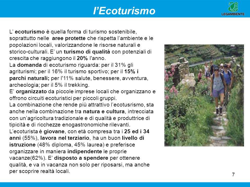 7 IEcoturismo L ecoturismo è quella forma di turismo sostenibile, soprattutto nelle aree protette che rispetta lambiente e le popolazioni locali, valo
