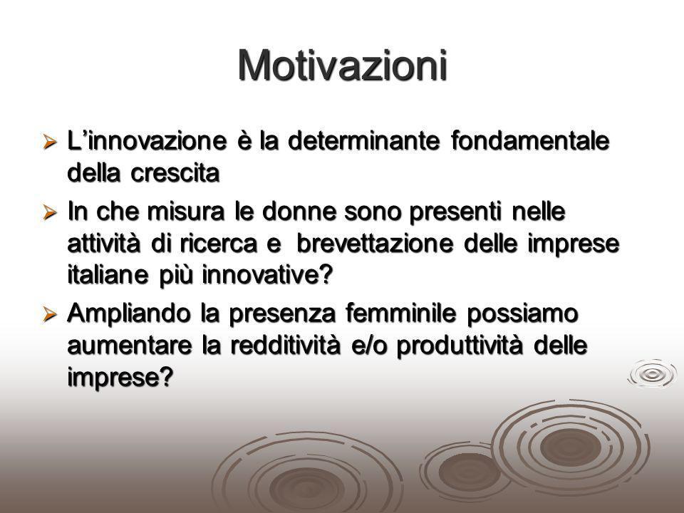 Motivazioni Linnovazione è la determinante fondamentale della crescita Linnovazione è la determinante fondamentale della crescita In che misura le don