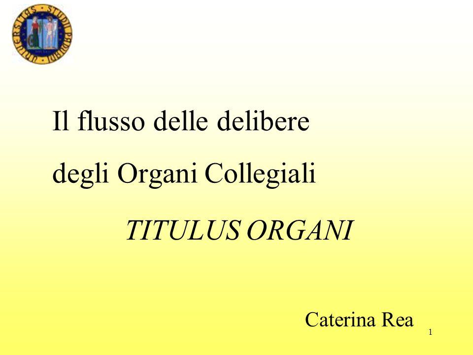 1 Il flusso delle delibere degli Organi Collegiali Caterina Rea TITULUS ORGANI