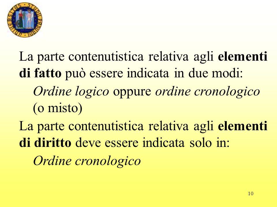 10 La parte contenutistica relativa agli elementi di fatto può essere indicata in due modi: Ordine logico oppure ordine cronologico (o misto) La parte