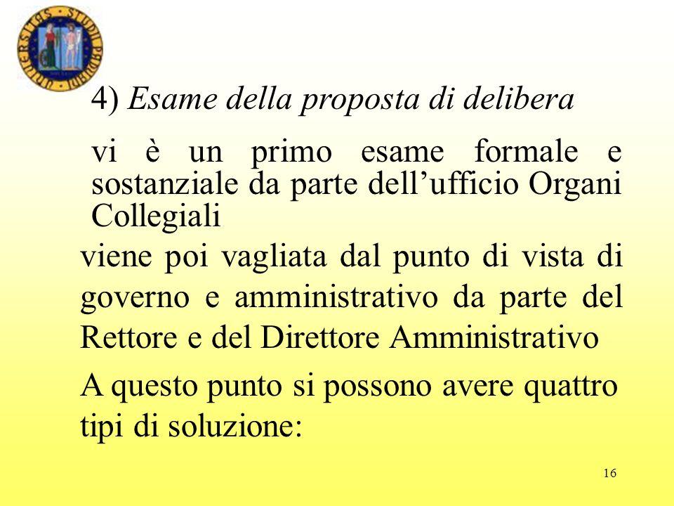 16 4) Esame della proposta di delibera vi è un primo esame formale e sostanziale da parte dellufficio Organi Collegiali viene poi vagliata dal punto d