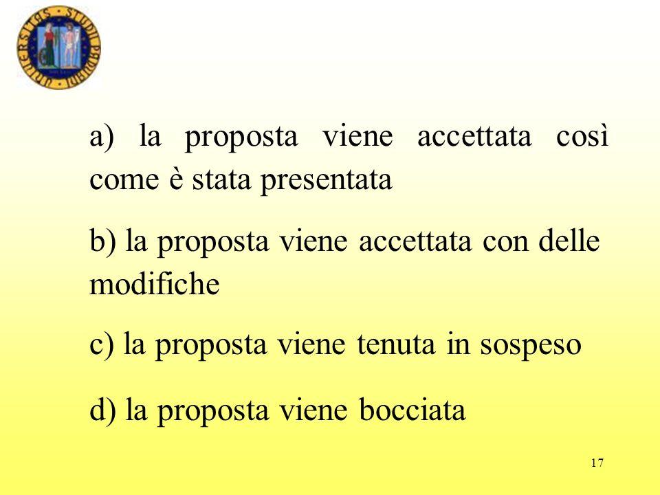 17 a) la proposta viene accettata così come è stata presentata d) la proposta viene bocciata c) la proposta viene tenuta in sospeso b) la proposta viene accettata con delle modifiche