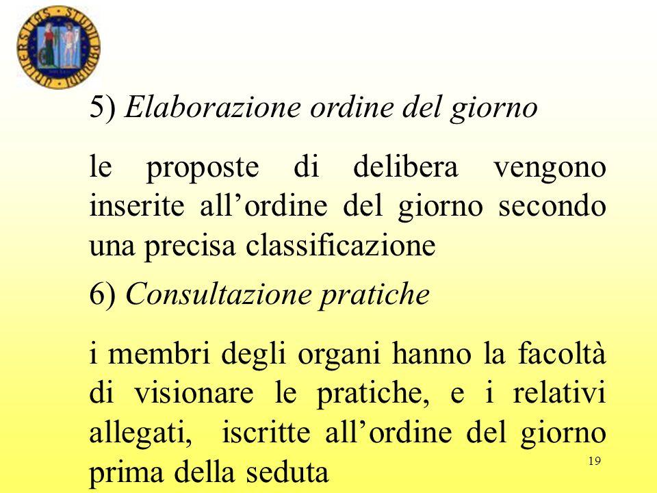 19 5) Elaborazione ordine del giorno le proposte di delibera vengono inserite allordine del giorno secondo una precisa classificazione 6) Consultazion