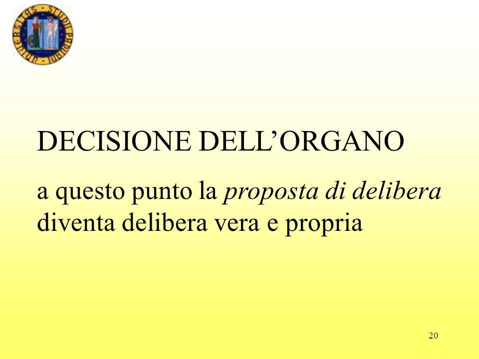 20 DECISIONE DELLORGANO a questo punto la proposta di delibera diventa delibera vera e propria