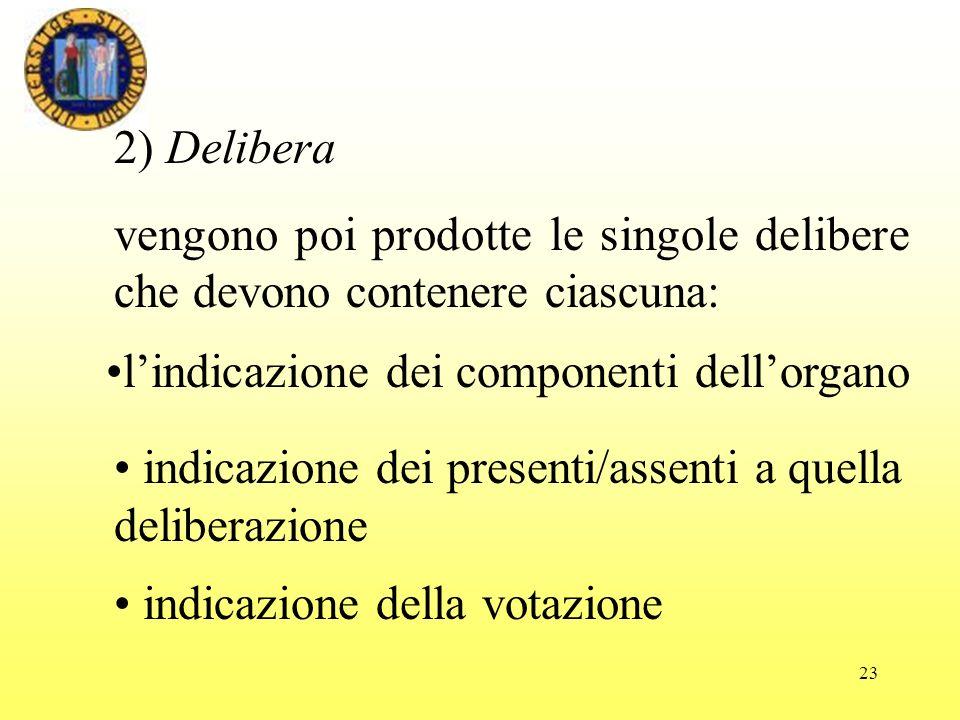 23 2) Delibera vengono poi prodotte le singole delibere che devono contenere ciascuna: indicazione della votazione indicazione dei presenti/assenti a quella deliberazione lindicazione dei componenti dellorgano