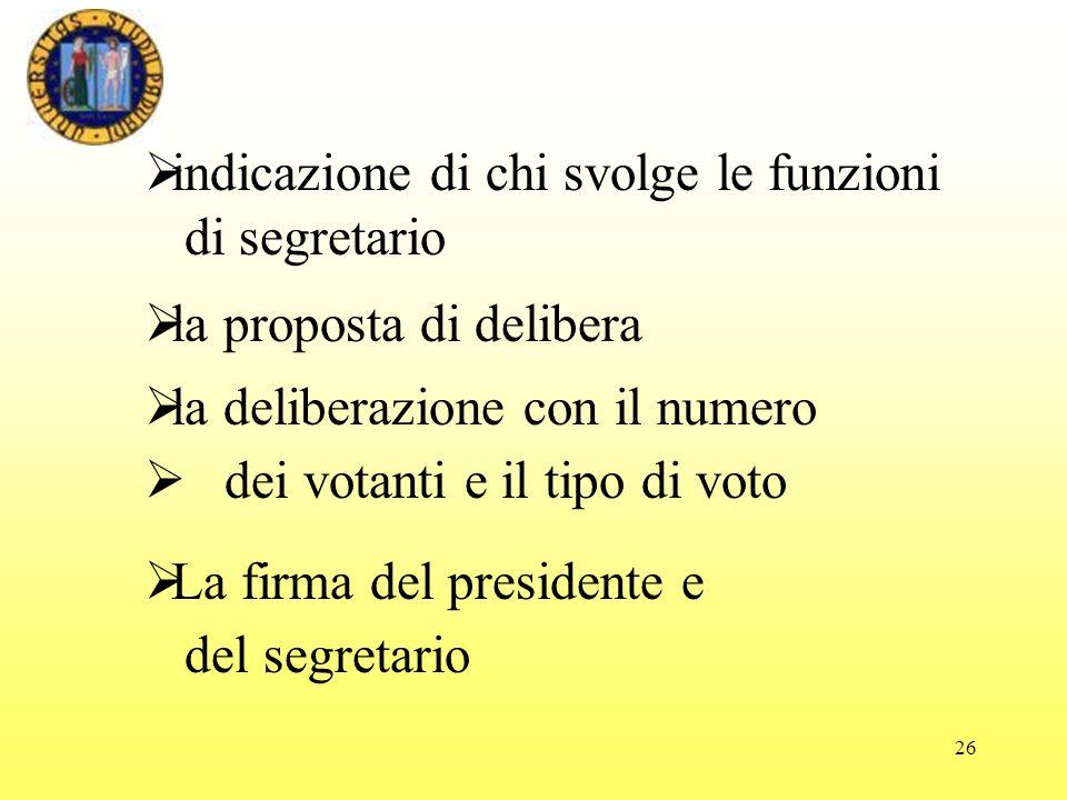 26 la proposta di delibera la deliberazione con il numero dei votanti e il tipo di voto La firma del presidente e del segretario indicazione di chi svolge le funzioni di segretario