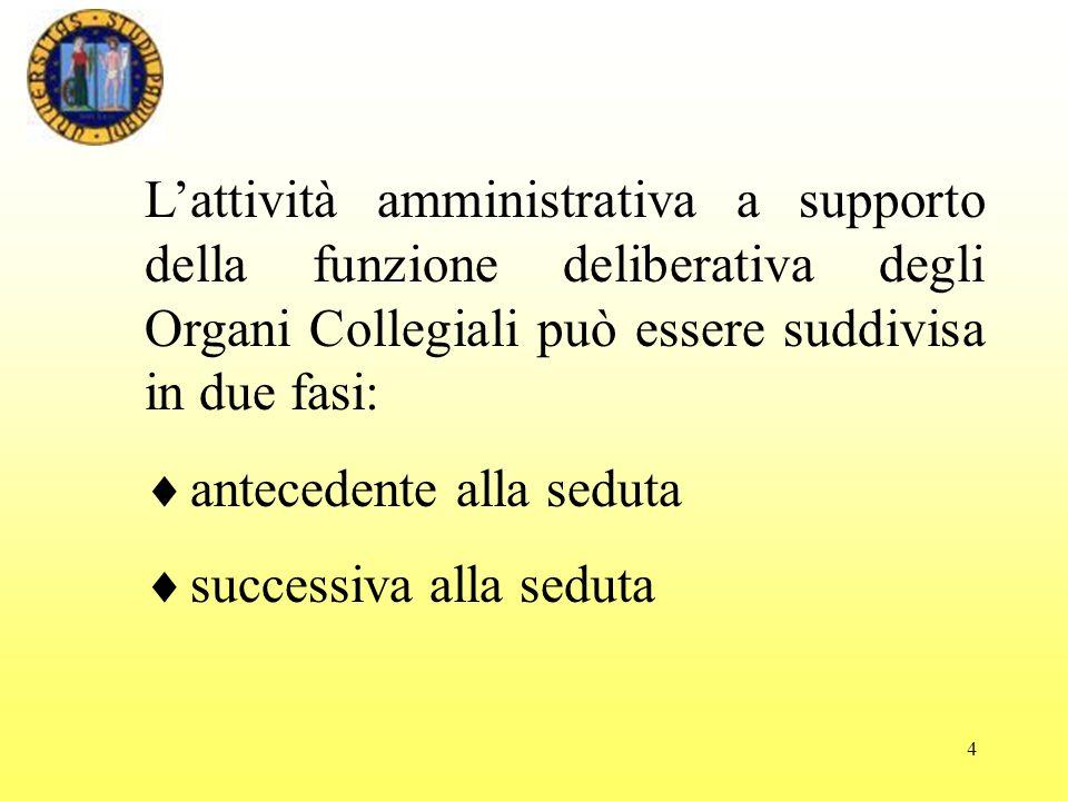 4 Lattività amministrativa a supporto della funzione deliberativa degli Organi Collegiali può essere suddivisa in due fasi: antecedente alla seduta successiva alla seduta