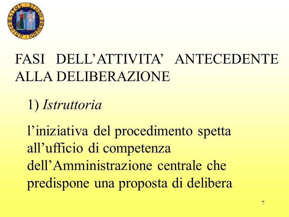 7 FASI DELLATTIVITA ANTECEDENTE ALLA DELIBERAZIONE 1) Istruttoria liniziativa del procedimento spetta allufficio di competenza dellAmministrazione centrale che predispone una proposta di delibera