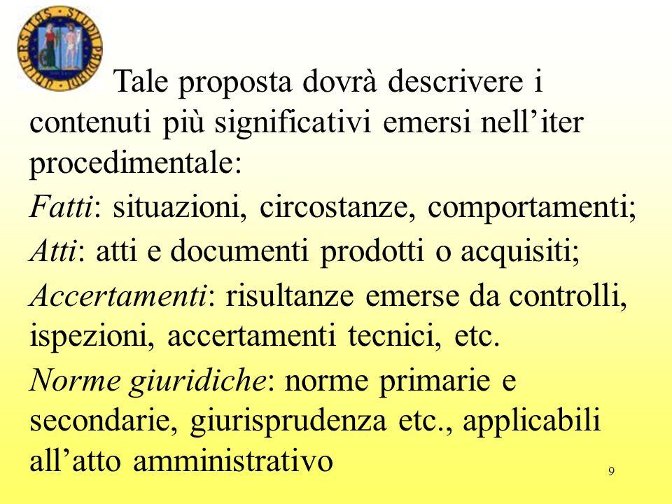9 Tale proposta dovrà descrivere i contenuti più significativi emersi nelliter procedimentale: Fatti: situazioni, circostanze, comportamenti; Atti: at