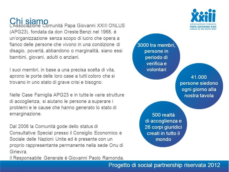 Chi siamo LAssociazione Comunità Papa Giovanni XXIII ONLUS (APG23), fondata da don Oreste Benzi nel 1968, è unorganizzazione senza scopo di lucro che opera a fianco delle persone che vivono in una condizione di disagio, povertà, abbandono o marginalità, siano essi bambini, giovani, adulti o anziani.