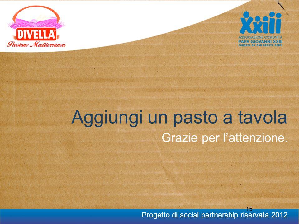 Progetto di social partnership riservata 2012 15 Aggiungi un pasto a tavola Grazie per lattenzione.