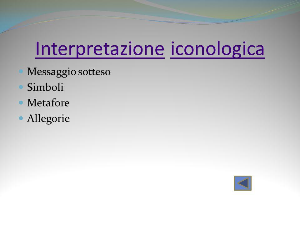 InterpretazioneInterpretazione iconologicaiconologica Messaggio sotteso Simboli Metafore Allegorie