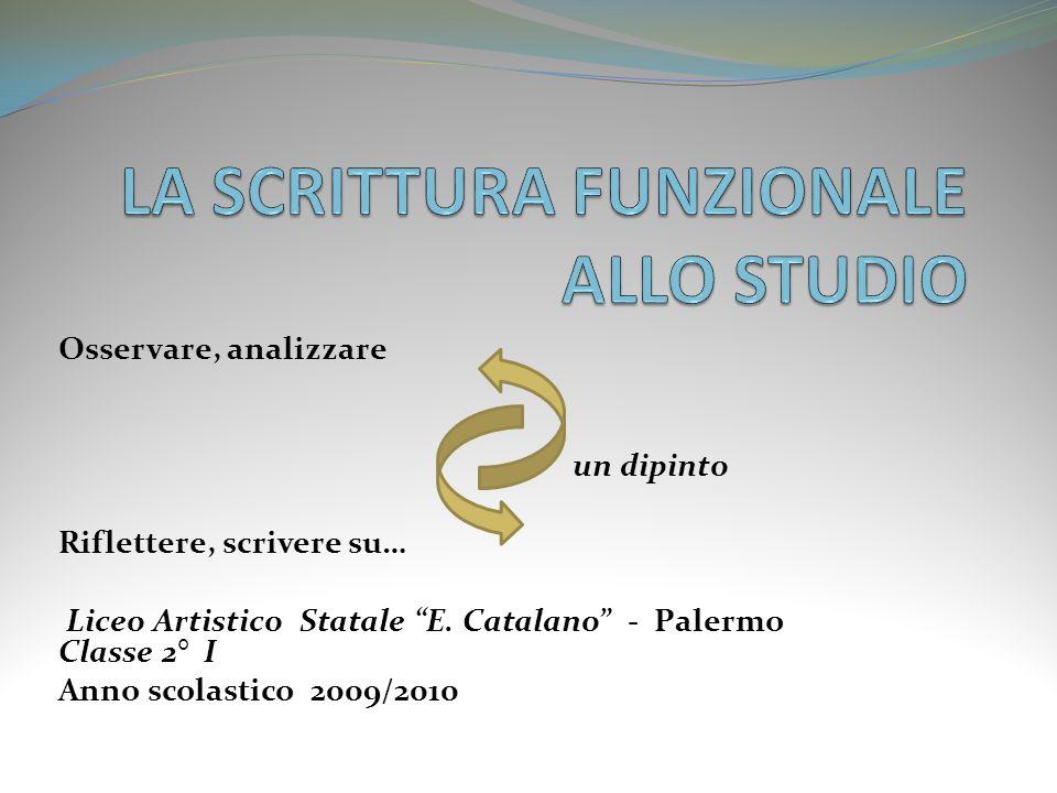 Osservare, analizzare un dipinto Riflettere, scrivere su… Liceo Artistico Statale E. Catalano - Palermo Classe 2° I Anno scolastico 2009/2010
