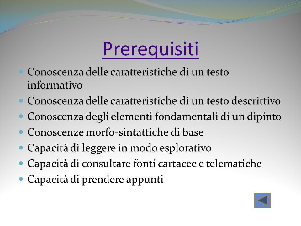 Prerequisiti Conoscenza delle caratteristiche di un testo informativo Conoscenza delle caratteristiche di un testo descrittivo Conoscenza degli elemen
