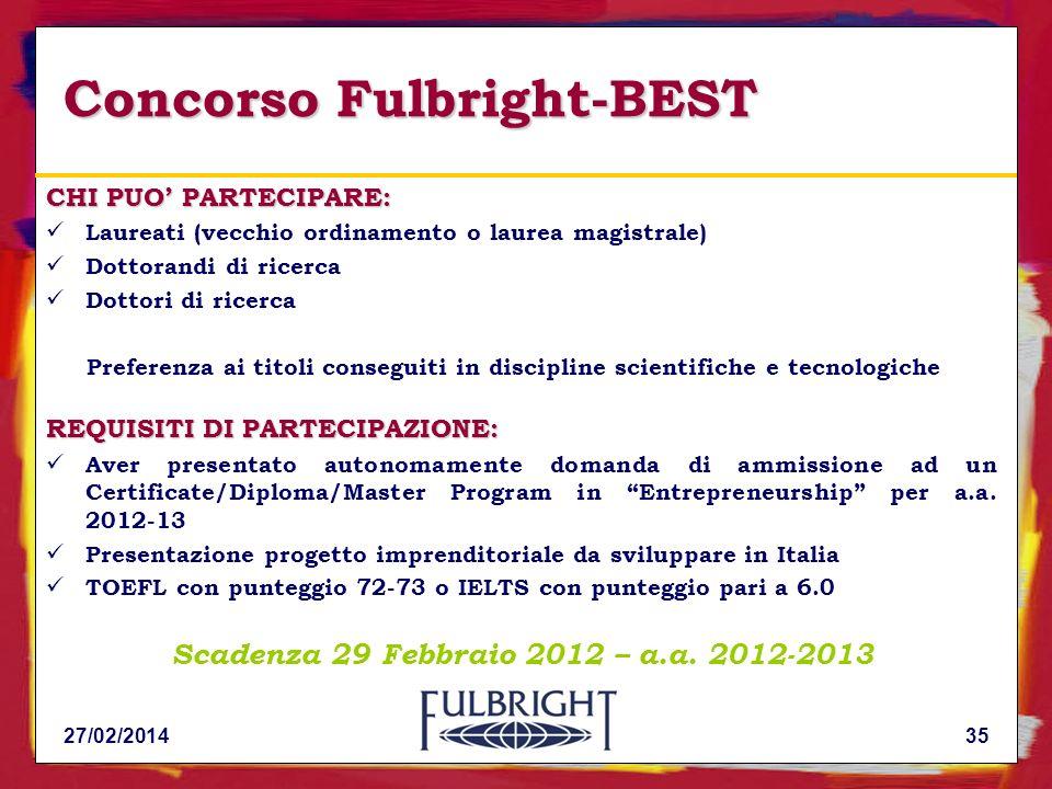 Concorso Fulbright-BEST CHI PUO PARTECIPARE: Laureati (vecchio ordinamento o laurea magistrale) Dottorandi di ricerca Dottori di ricerca Preferenza ai titoli conseguiti in discipline scientifiche e tecnologiche REQUISITI DI PARTECIPAZIONE: Aver presentato autonomamente domanda di ammissione ad un Certificate/Diploma/Master Program in Entrepreneurship per a.a.