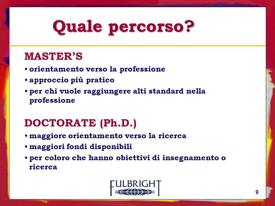 Il Programma Fulbright in Italia Inizia nel 1948 Opera su base binazionale con finanziamenti erogati dal Governo statunitense ed italiano Assegna borse di studio a cittadini italiani e statunitensi 20
