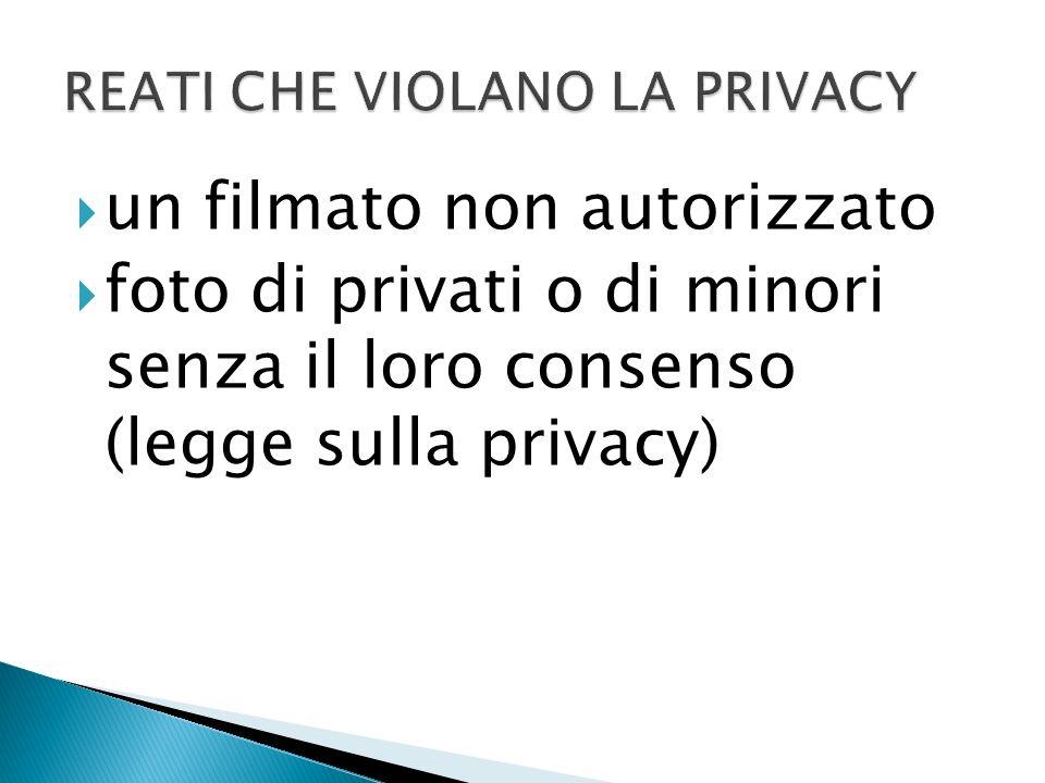 un filmato non autorizzato foto di privati o di minori senza il loro consenso (legge sulla privacy)