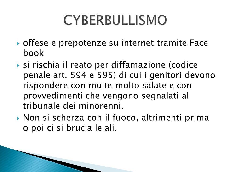 offese e prepotenze su internet tramite Face book si rischia il reato per diffamazione (codice penale art.