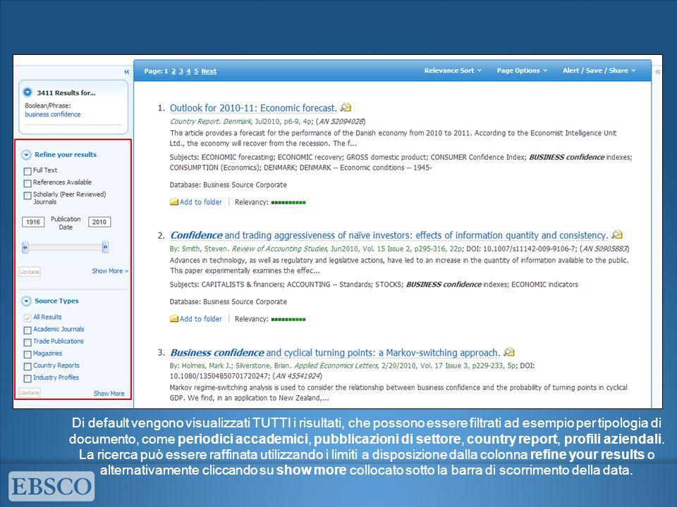 Di default vengono visualizzati TUTTI i risultati, che possono essere filtrati ad esempio per tipologia di documento, come periodici accademici, pubblicazioni di settore, country report, profili aziendali.
