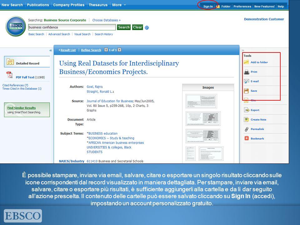 È possibile stampare, inviare via email, salvare, citare o esportare un singolo risultato cliccando sulle icone corrispondenti dal record visualizzato