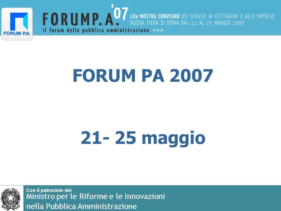 Con il patrocinio del Ministro per le Riforme e le Innovazioni nella Pubblica Amministrazione FORUM PA 2007 21- 25 maggio