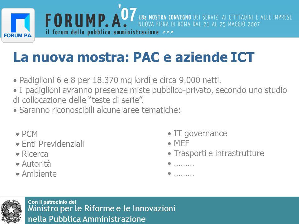 Con il patrocinio del Ministro per le Riforme e le Innovazioni nella Pubblica Amministrazione La nuova mostra: PAC e aziende ICT Padiglioni 6 e 8 per 18.370 mq lordi e circa 9.000 netti.