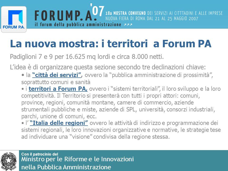 Con il patrocinio del Ministro per le Riforme e le Innovazioni nella Pubblica Amministrazione La nuova mostra: i territori a Forum PA Padiglioni 7 e 9