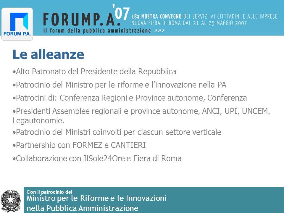 Le alleanze Alto Patronato del Presidente della Repubblica Patrocinio del Ministro per le riforme e linnovazione nella PA Patrocini di: Conferenza Reg
