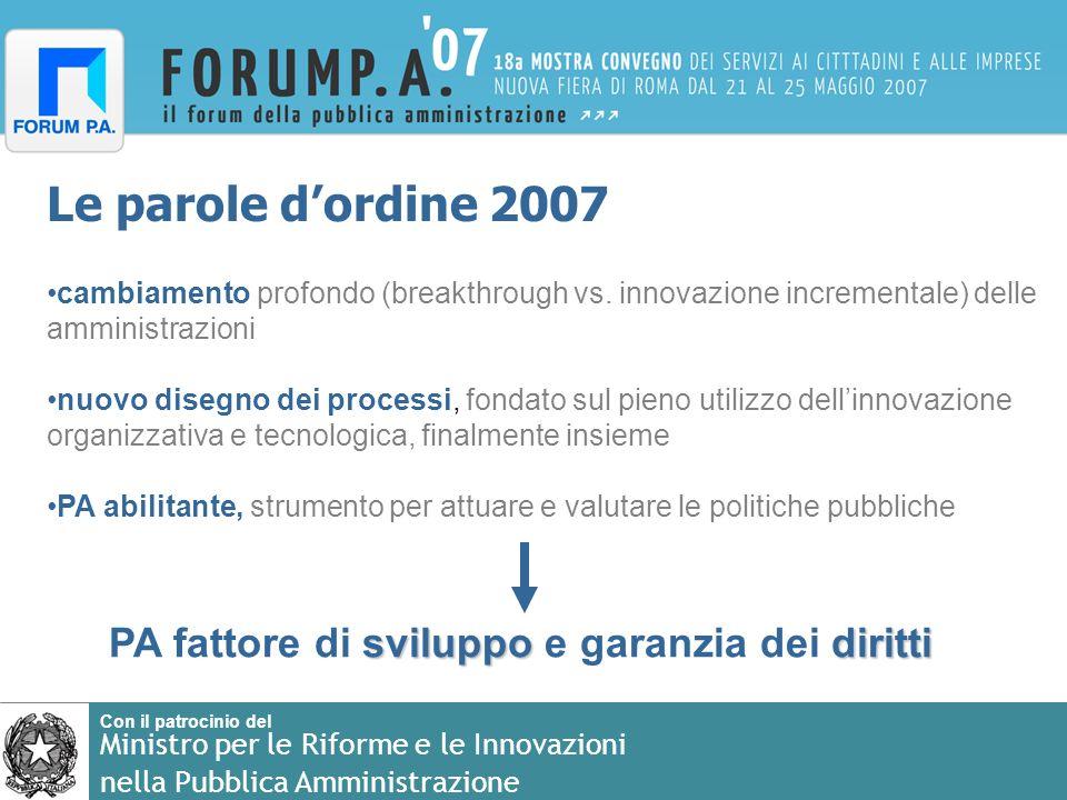 Con il patrocinio del Ministro per le Riforme e le Innovazioni nella Pubblica Amministrazione Le parole dordine 2007 cambiamento profondo (breakthroug