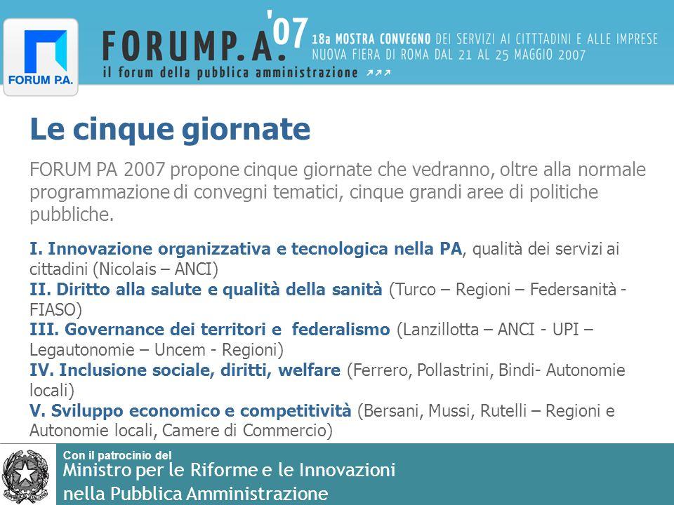 Con il patrocinio del Ministro per le Riforme e le Innovazioni nella Pubblica Amministrazione Le cinque giornate FORUM PA 2007 propone cinque giornate