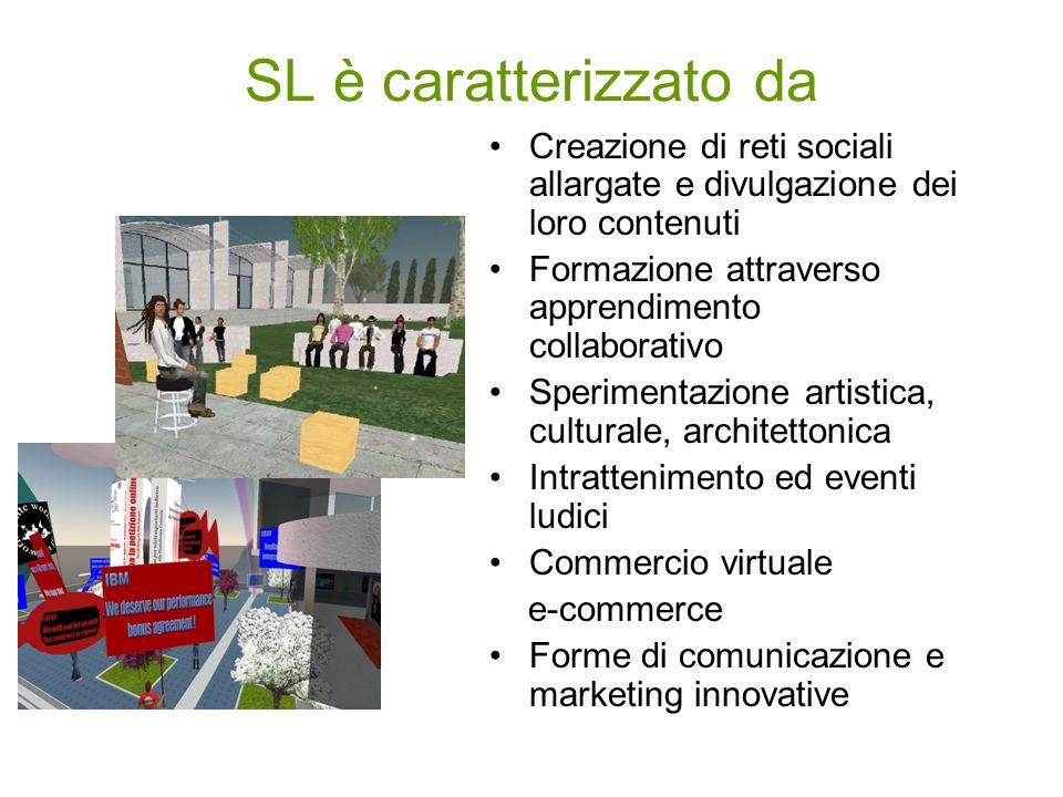 SL è caratterizzato da Creazione di reti sociali allargate e divulgazione dei loro contenuti Formazione attraverso apprendimento collaborativo Sperime