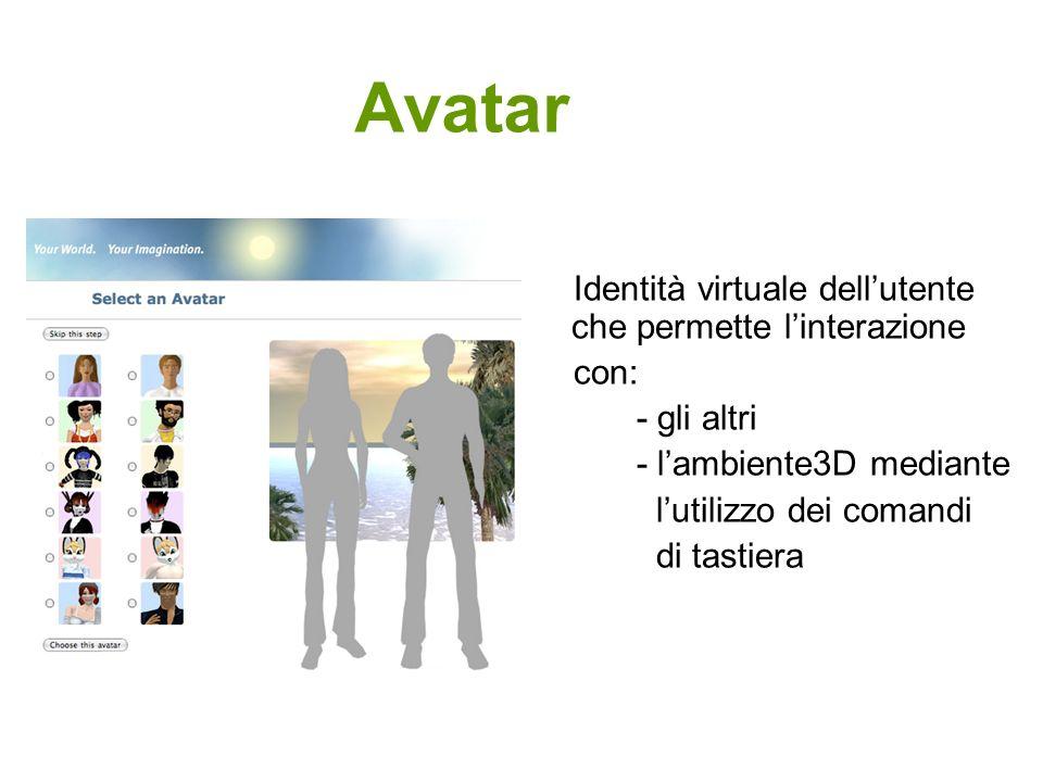 Avatar Identità virtuale dellutente che permette linterazione con: - gli altri - lambiente3D mediante lutilizzo dei comandi di tastiera