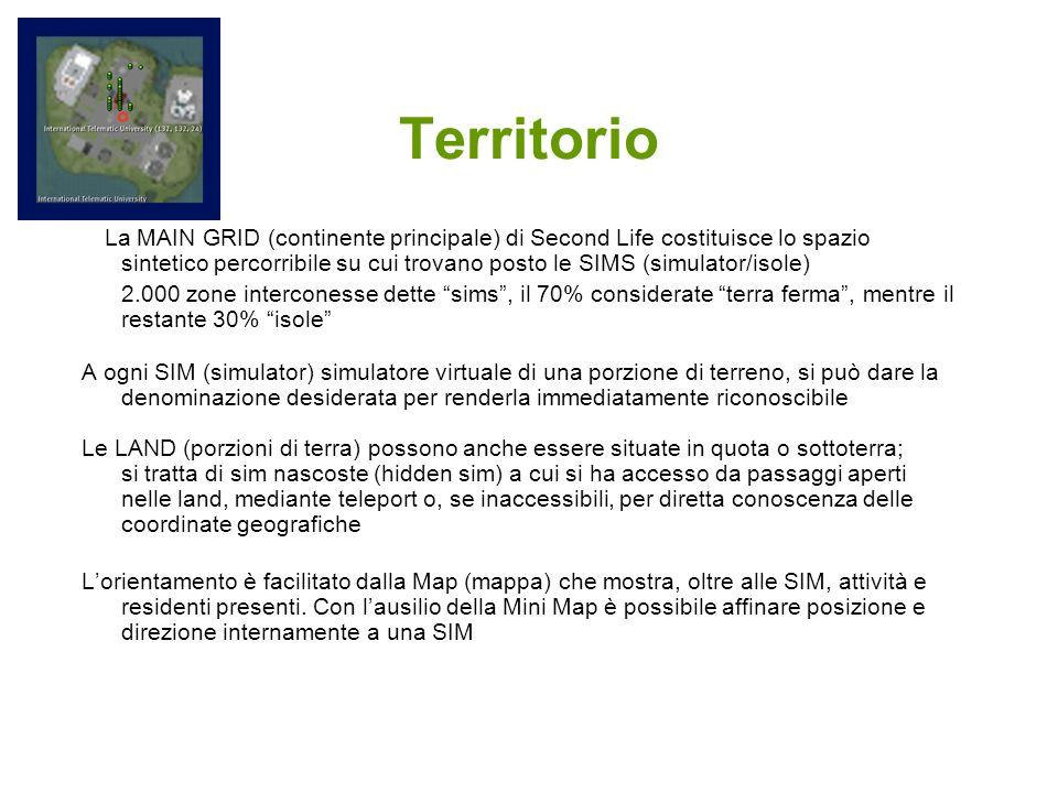 Territorio La MAIN GRID (continente principale) di Second Life costituisce lo spazio sintetico percorribile su cui trovano posto le SIMS (simulator/is