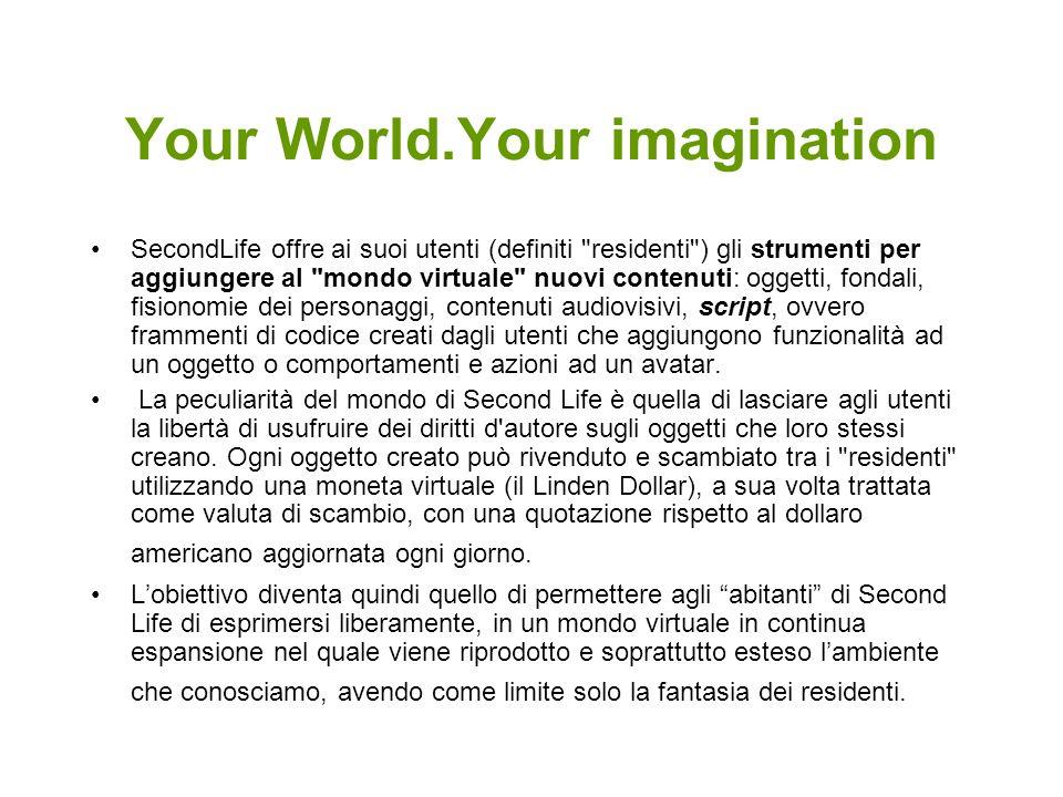 Your World.Your imagination SecondLife offre ai suoi utenti (definiti