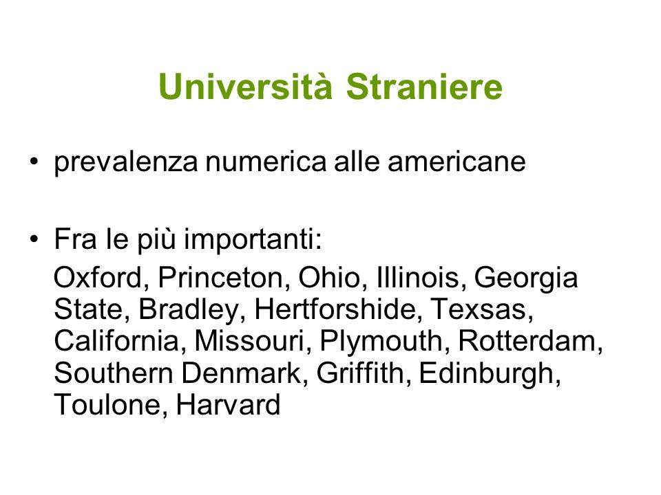 Università Straniere prevalenza numerica alle americane Fra le più importanti: Oxford, Princeton, Ohio, Illinois, Georgia State, Bradley, Hertforshide