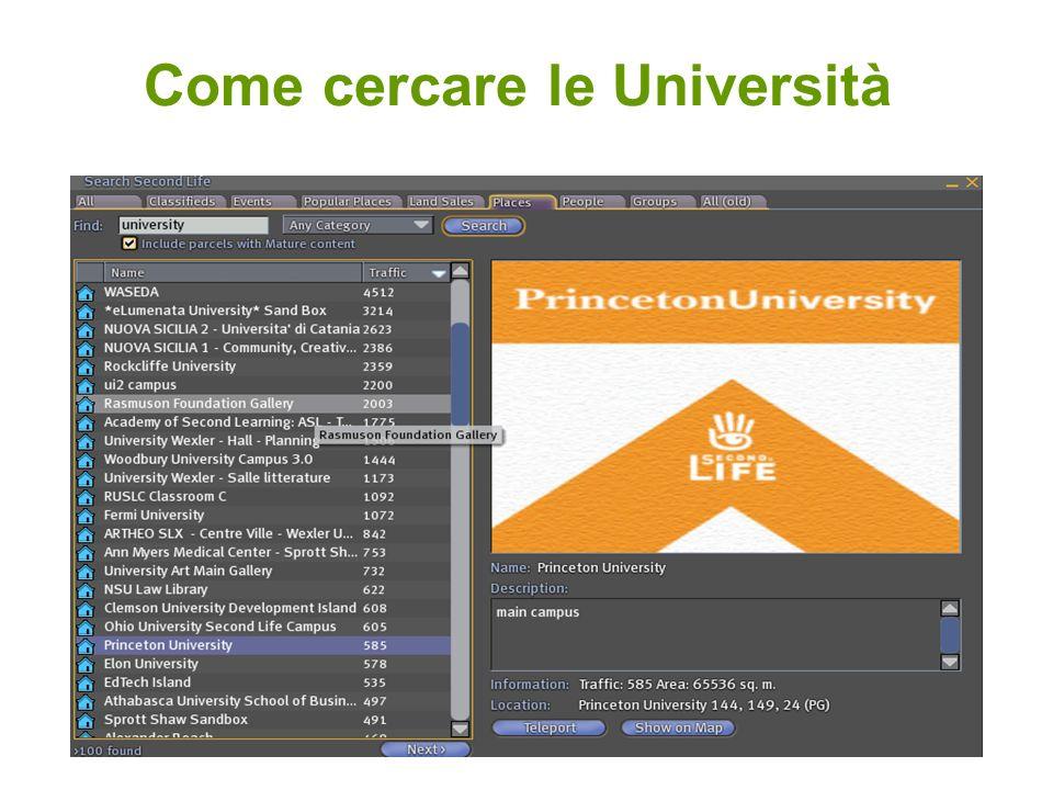 Come cercare le Università