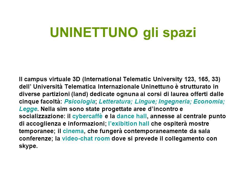 UNINETTUNO gli spazi Il campus virtuale 3D (International Telematic University 123, 165, 33) dell Università Telematica Internazionale Uninettuno è st