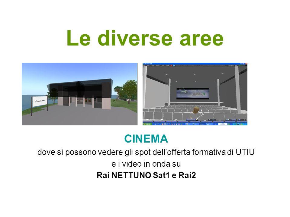 Le diverse aree CINEMA dove si possono vedere gli spot dellofferta formativa di UTIU e i video in onda su Rai NETTUNO Sat1 e Rai2