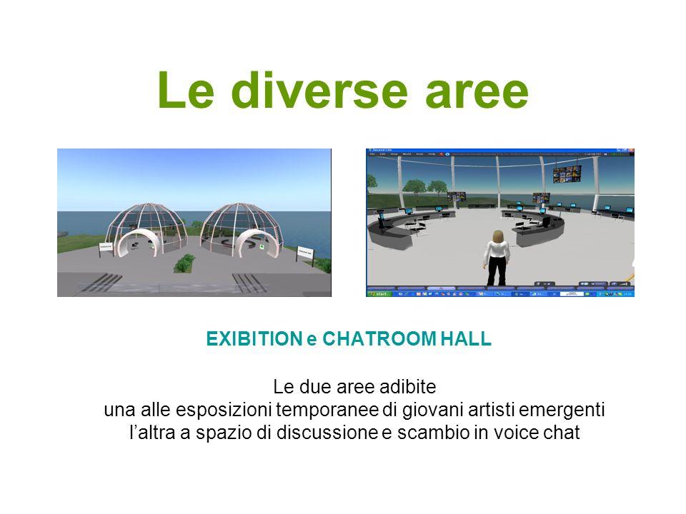 Le diverse aree EXIBITION e CHATROOM HALL Le due aree adibite una alle esposizioni temporanee di giovani artisti emergenti laltra a spazio di discussi