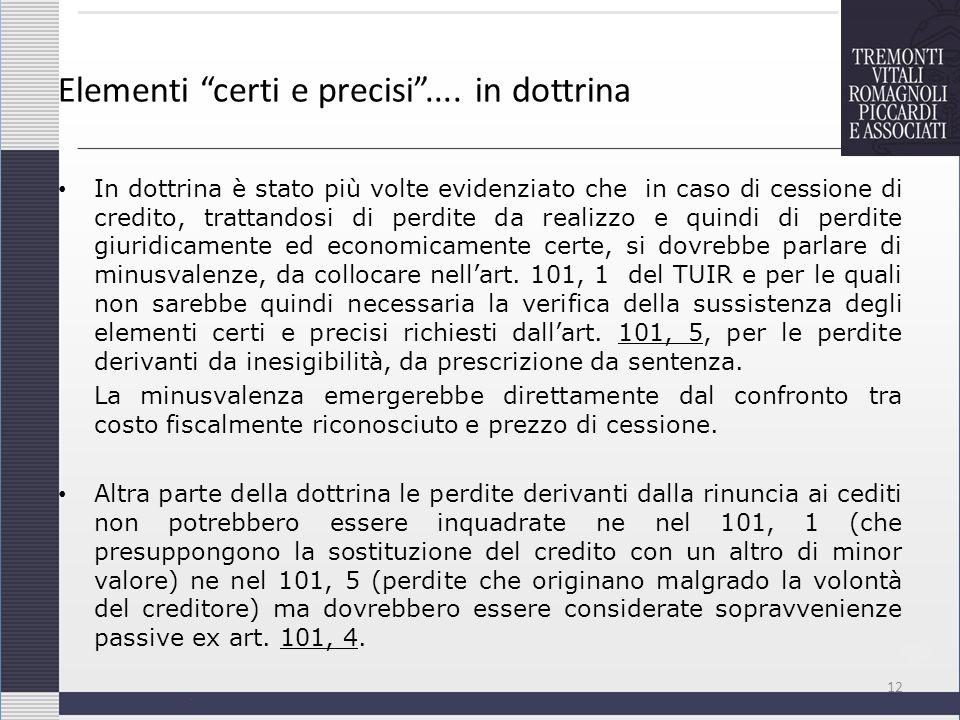 Elementi certi e precisi.... in dottrina In dottrina è stato più volte evidenziato che in caso di cessione di credito, trattandosi di perdite da reali